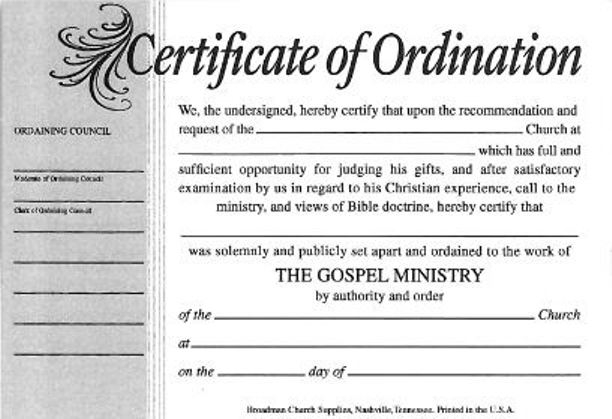 What Is Certificate Of Ordination
