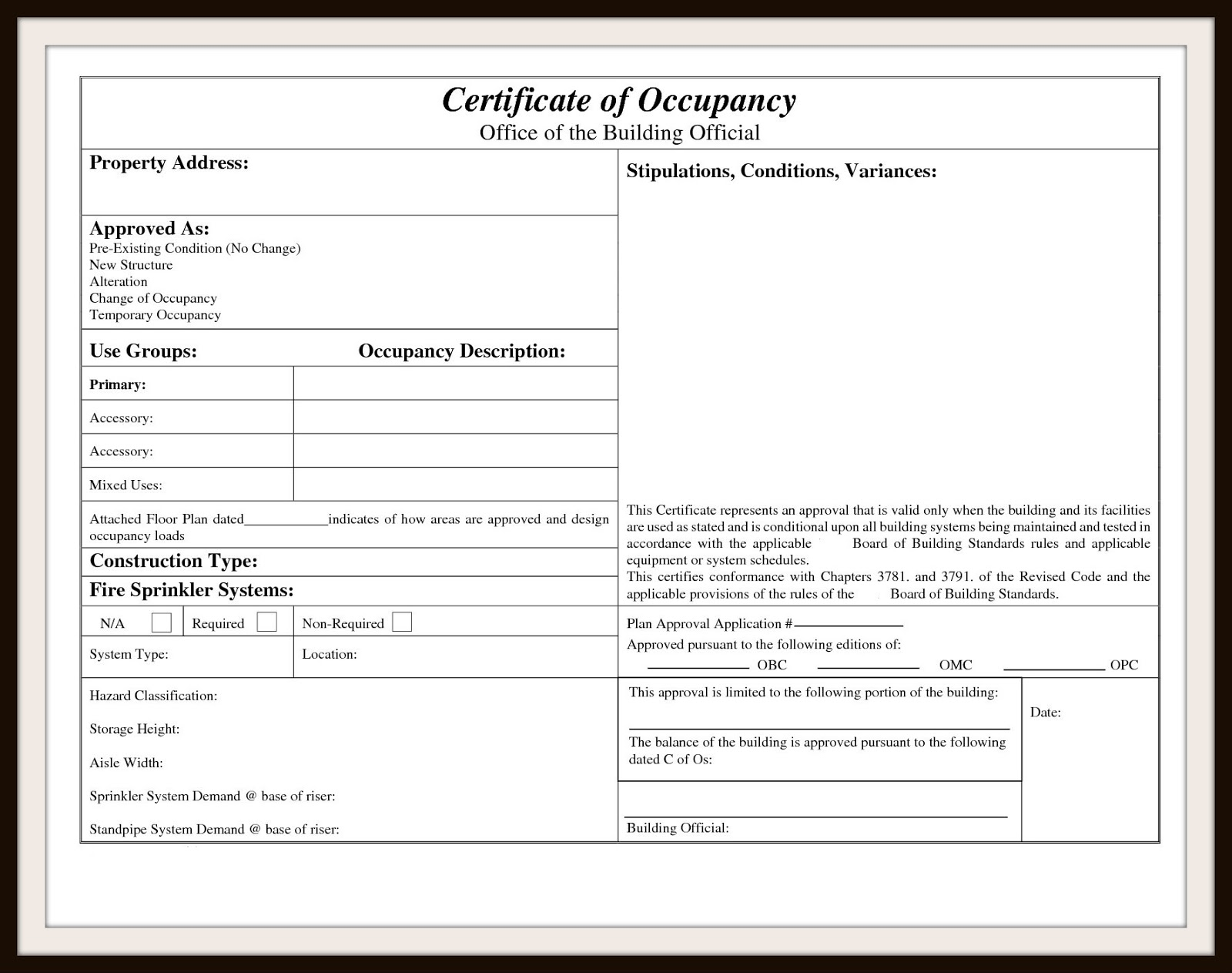 Certificate Of Occupancy Certificate Of