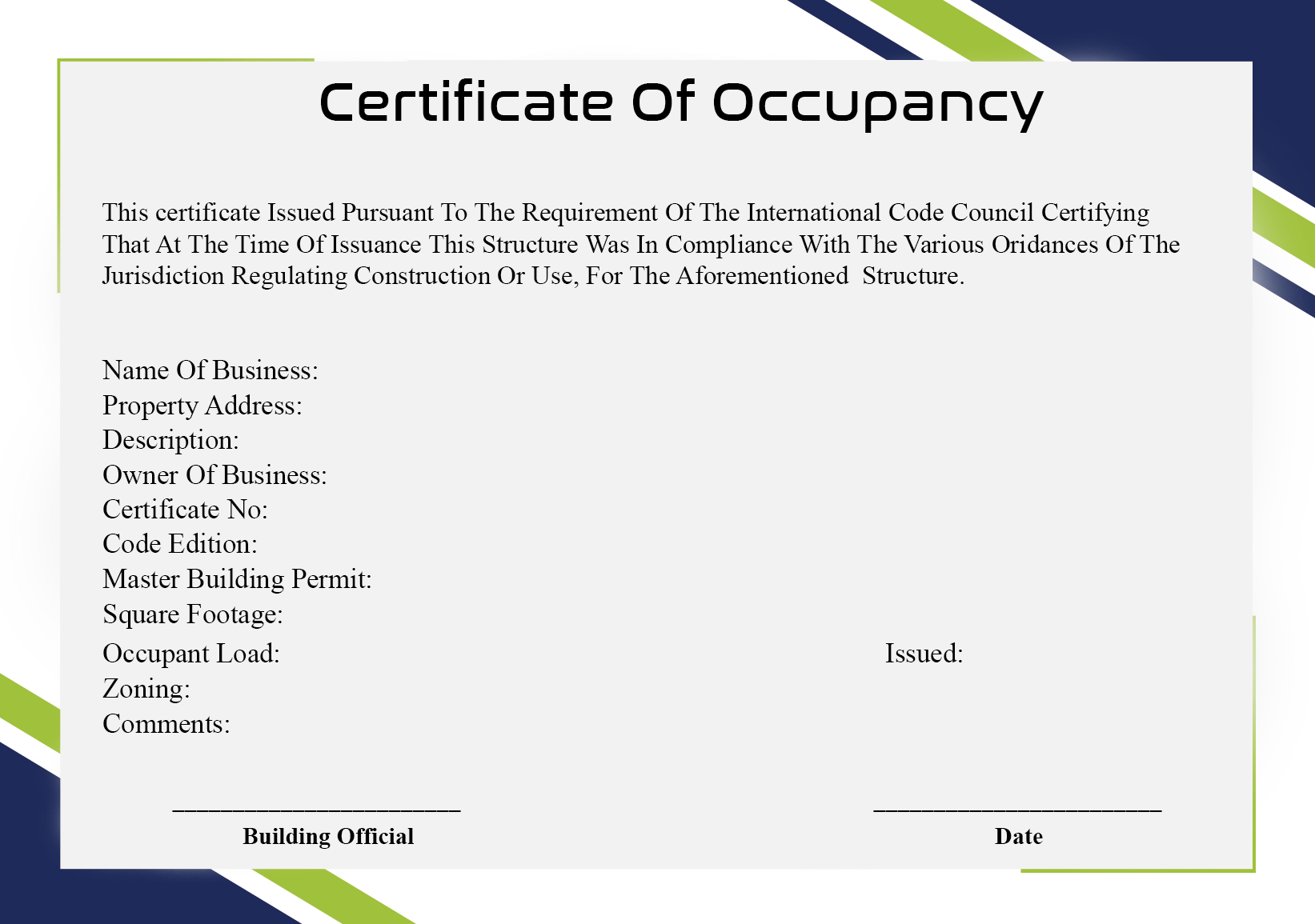 Certificate of Occupancy Sample