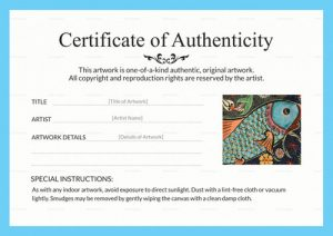 Certificate of Authenticity for Art
