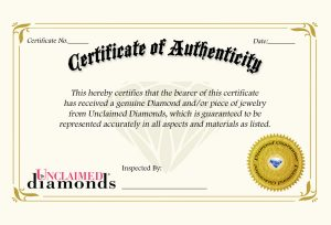 Certificate of Authenticity for Jewelry