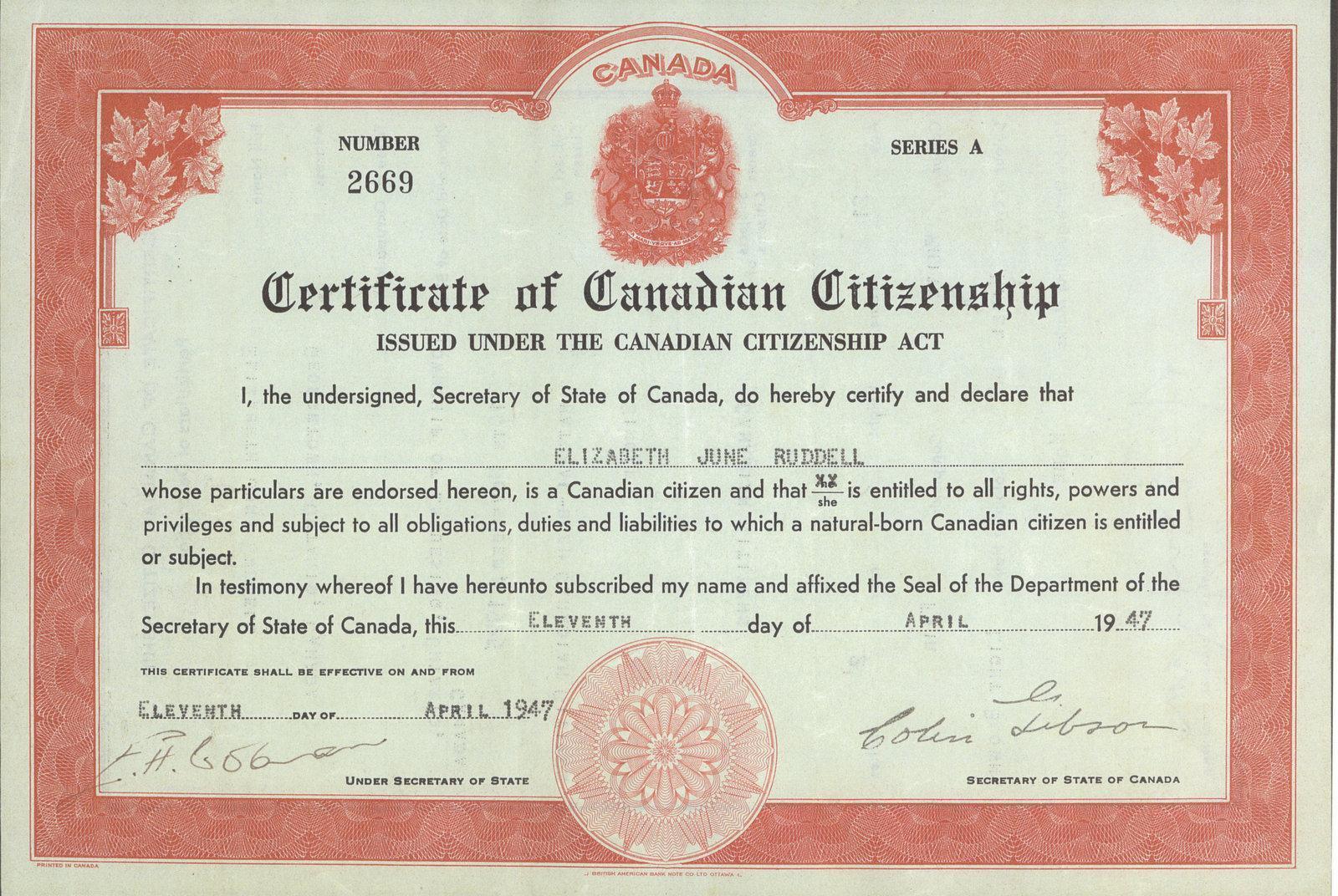 Certificate of Citizenship Canada