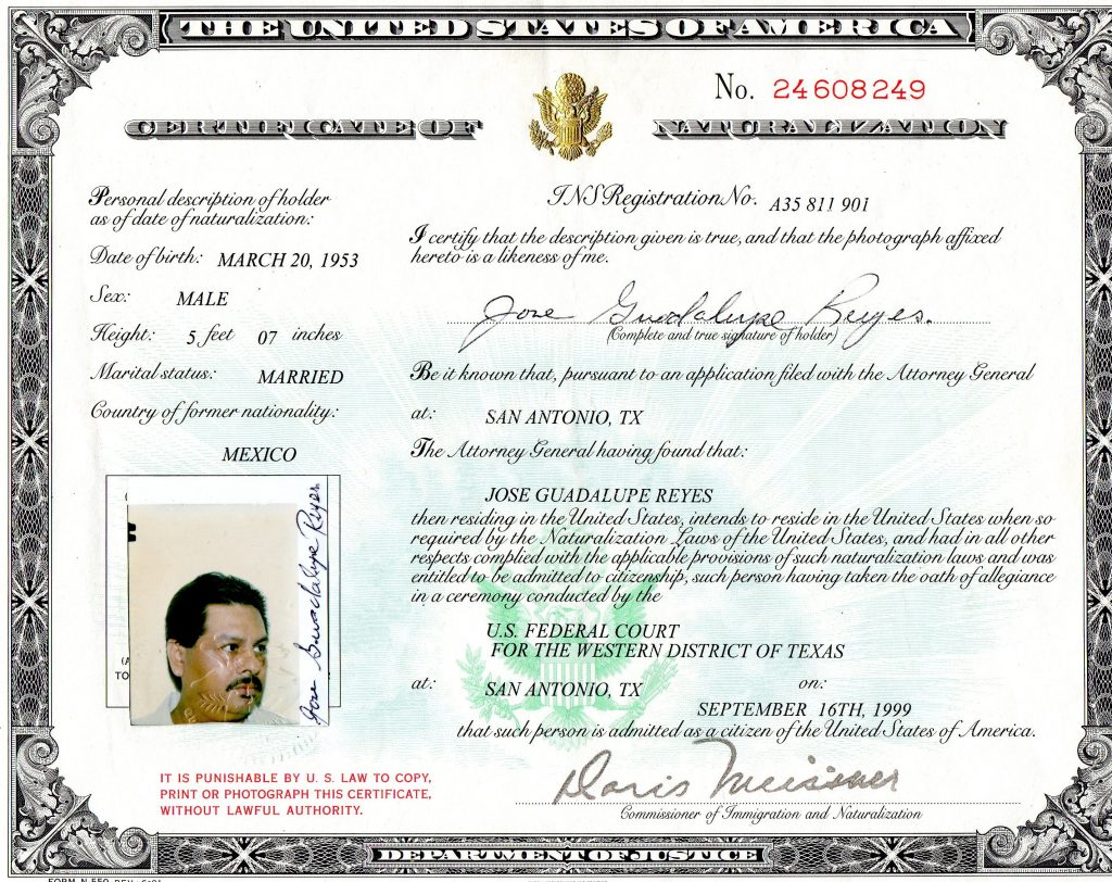 Certificate of Citizenship Copy