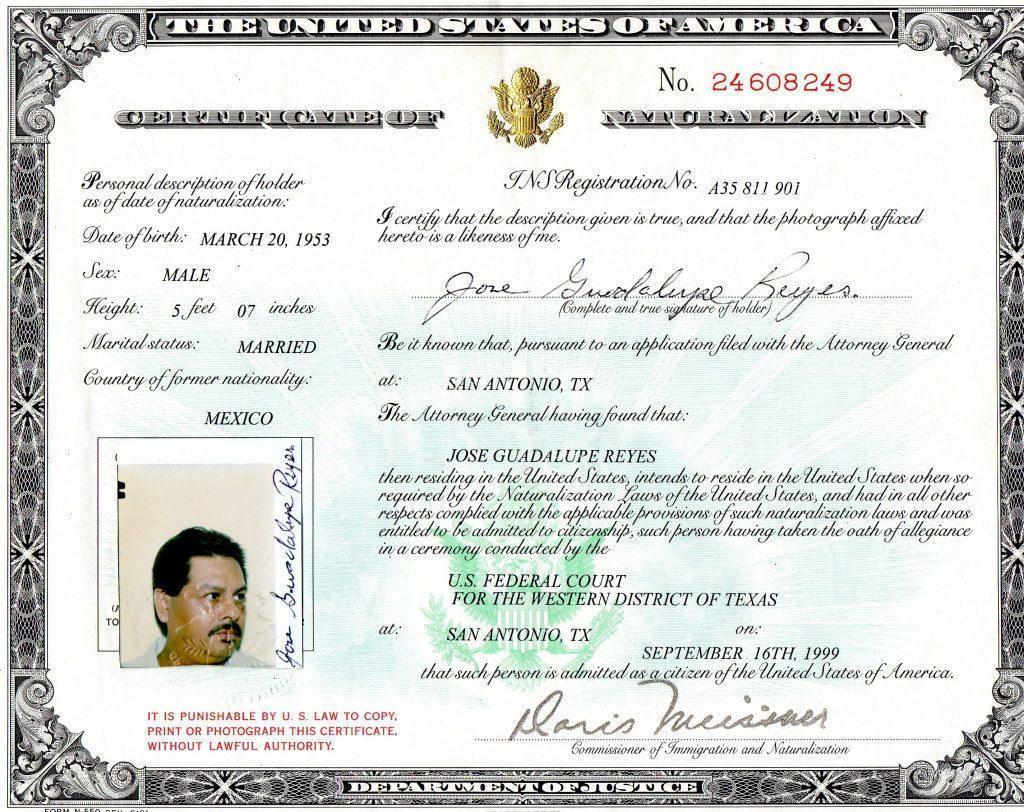 Certificate of Citizenship Copy