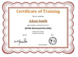 Certificate of Completion of Training