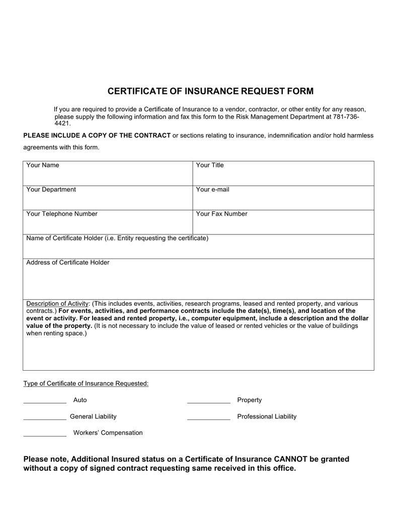 Certificate of Insurance form