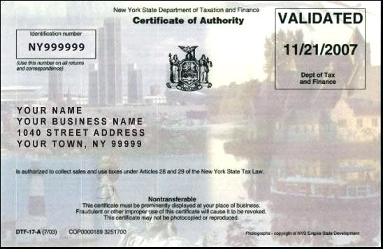 Sales Tax Certificate of Authority