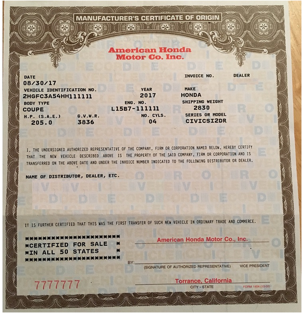 Certificate Of Origin Certificate Of