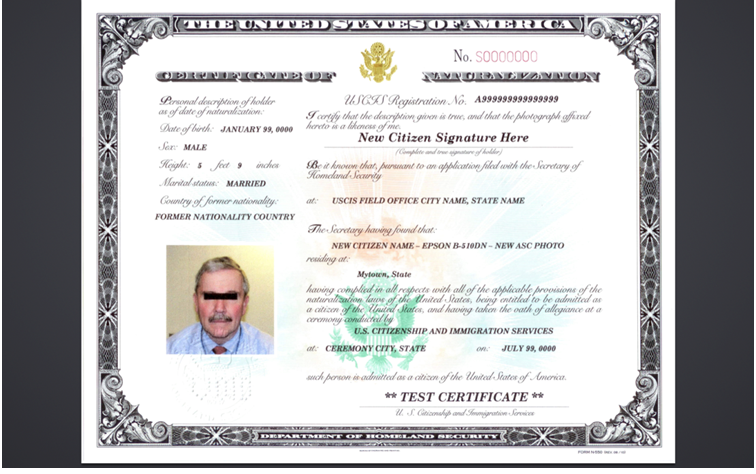 Certificate Of Citizenship Certificate Of
