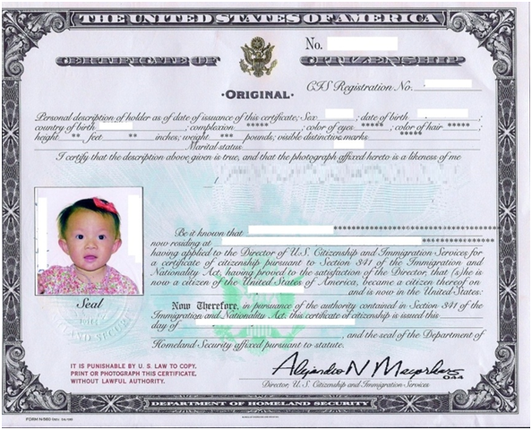 Certificate of Citizenship   Certificate Of