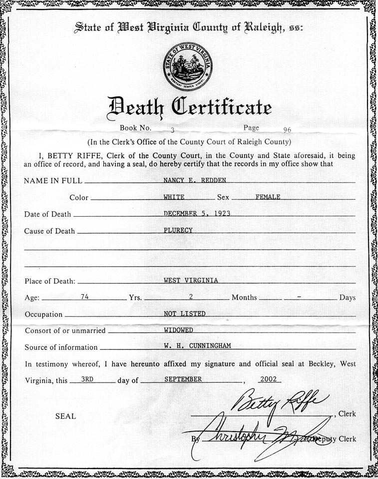 Certificate Of Death Certificate Of