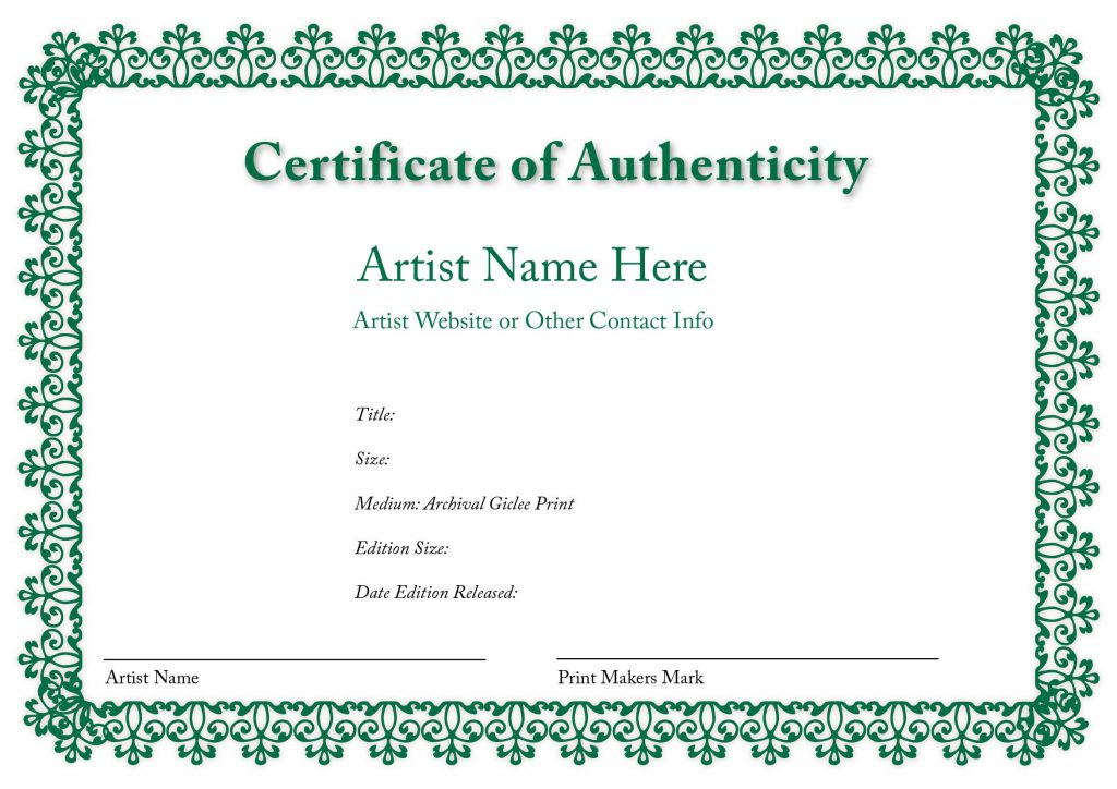 certificate of authenticity for Paintings