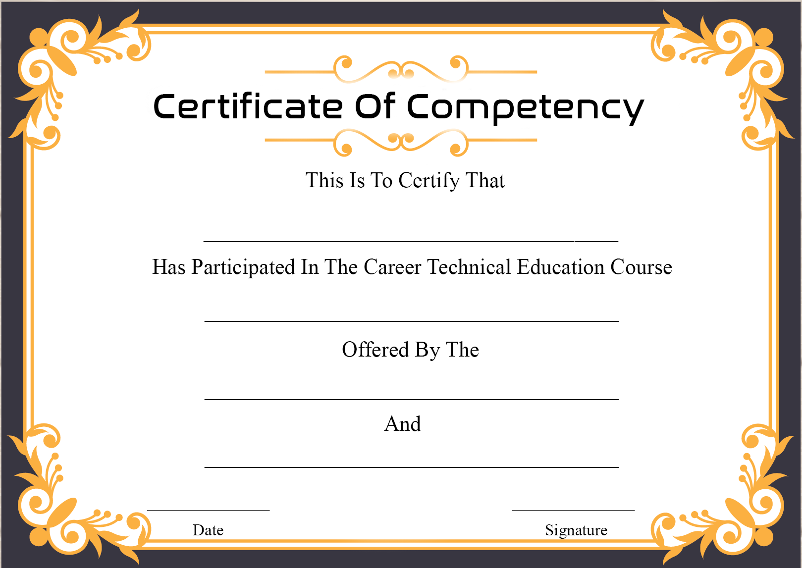 Free Sample Certificate Of Competency Templates