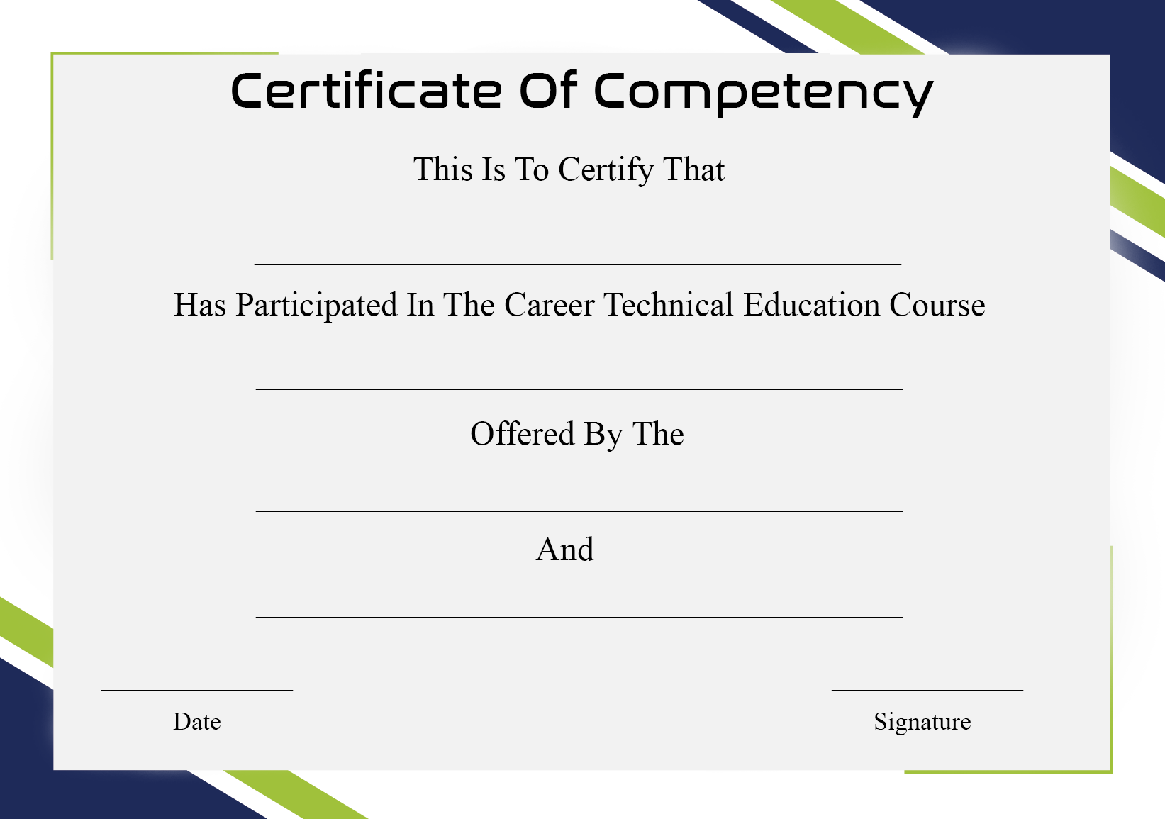 Certificate of Competency Sample