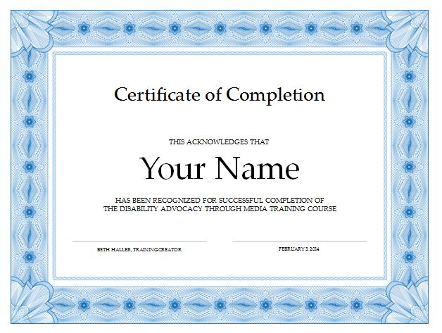 Certificate Of Completion Certificate Of