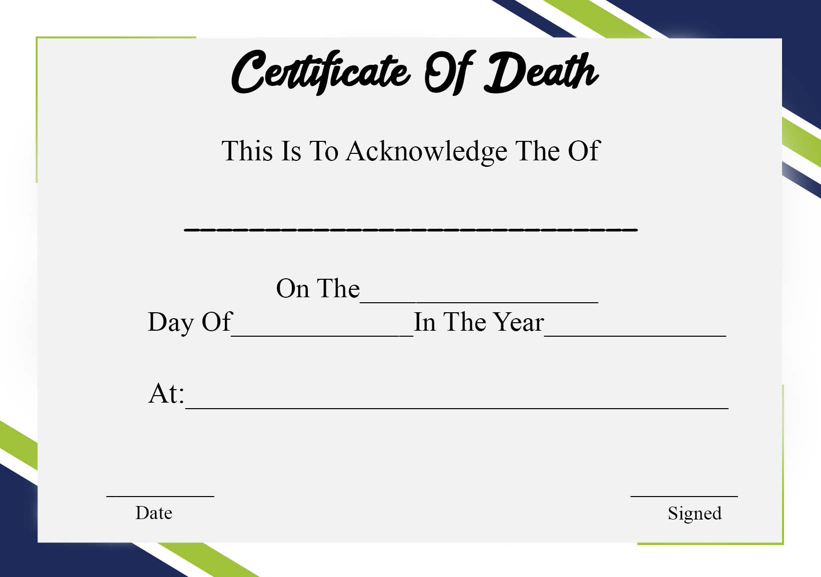 Death certificates NJ