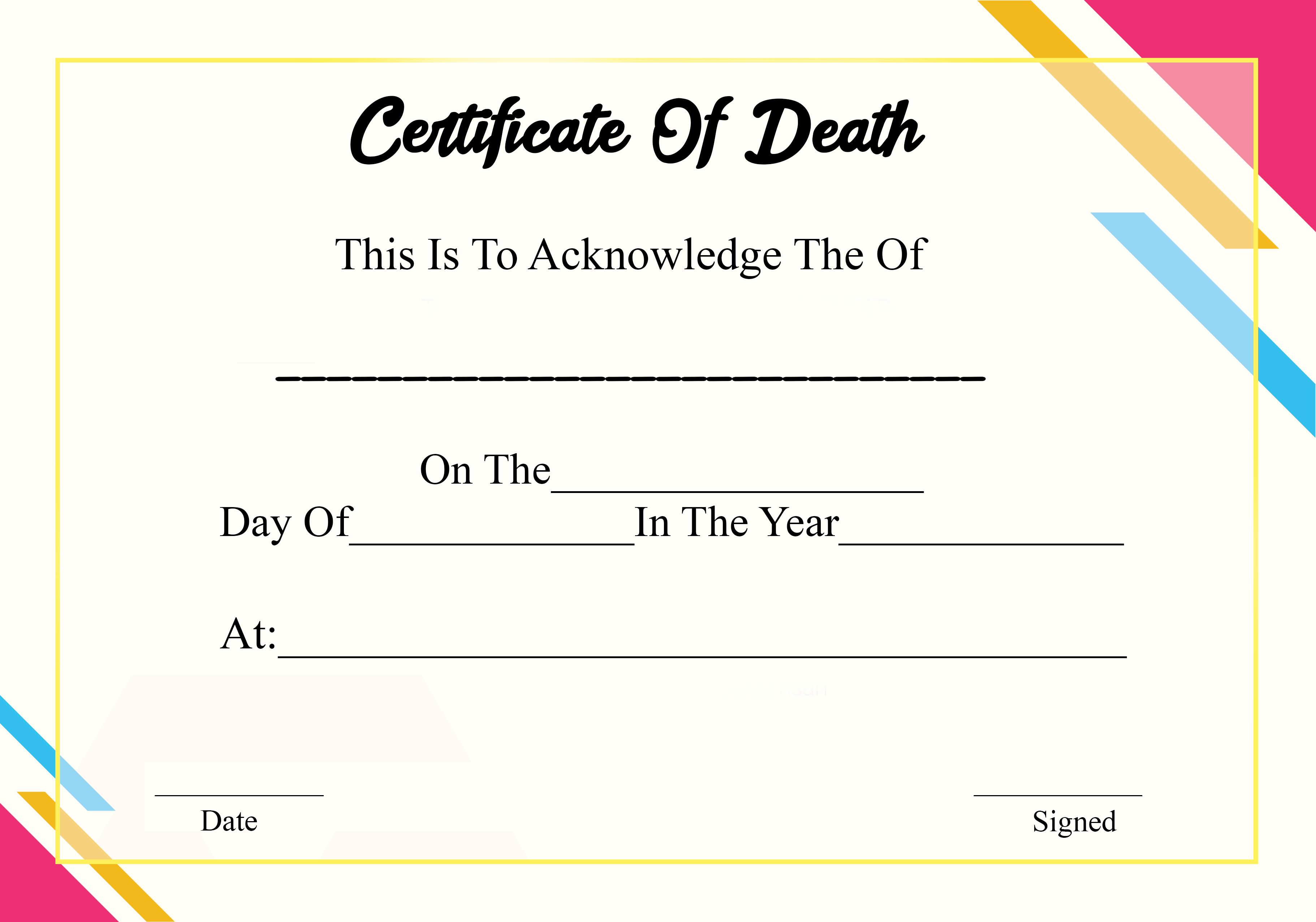 Death Certificates Ontario
