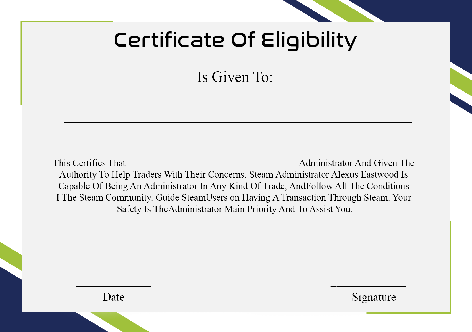 Certificate of Eligibility Meaning