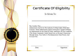 Certificate of Eligibility for College