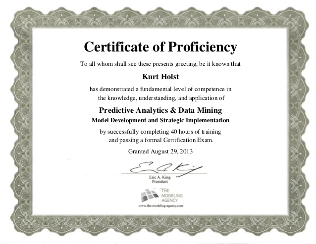Certificate Of Proficiency Certificate Of