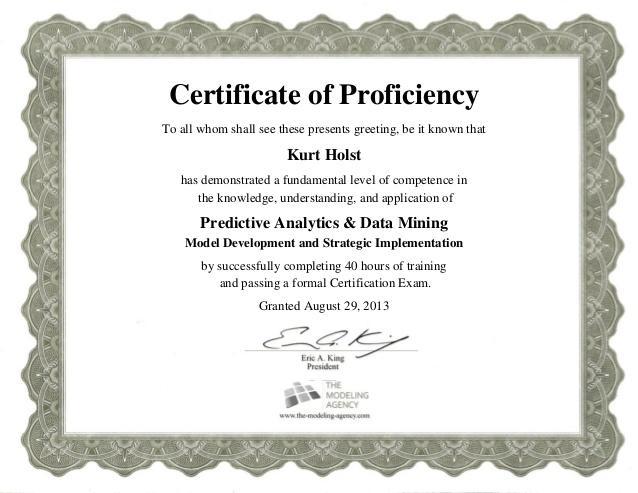 Certificate of Proficiency