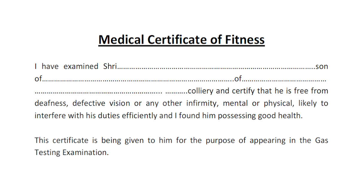 Certificate Of Fitness Certificate Of