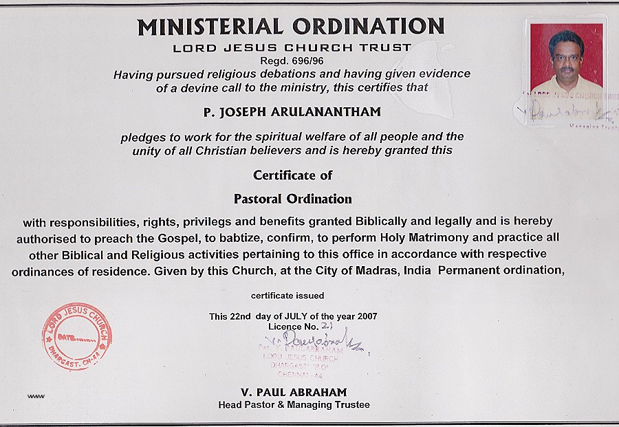 Certification Of Ordination Certificate Of