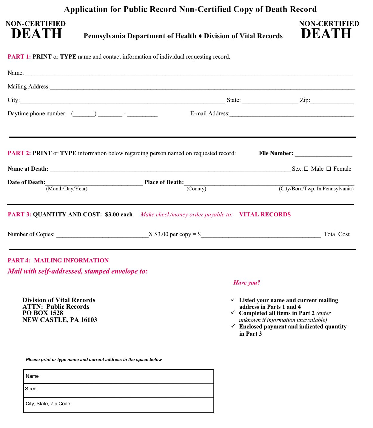 Certificate Of Death Certificate Of