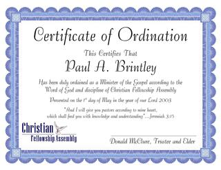 Free Sample Certification Of Ordination Templates
