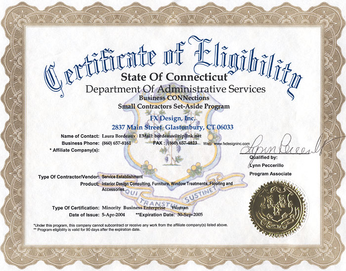Certificate Of Eligibility Certificate Of