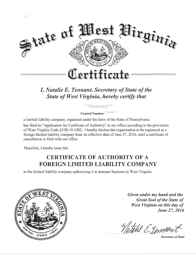 Certificate Of Authority Certificate Of