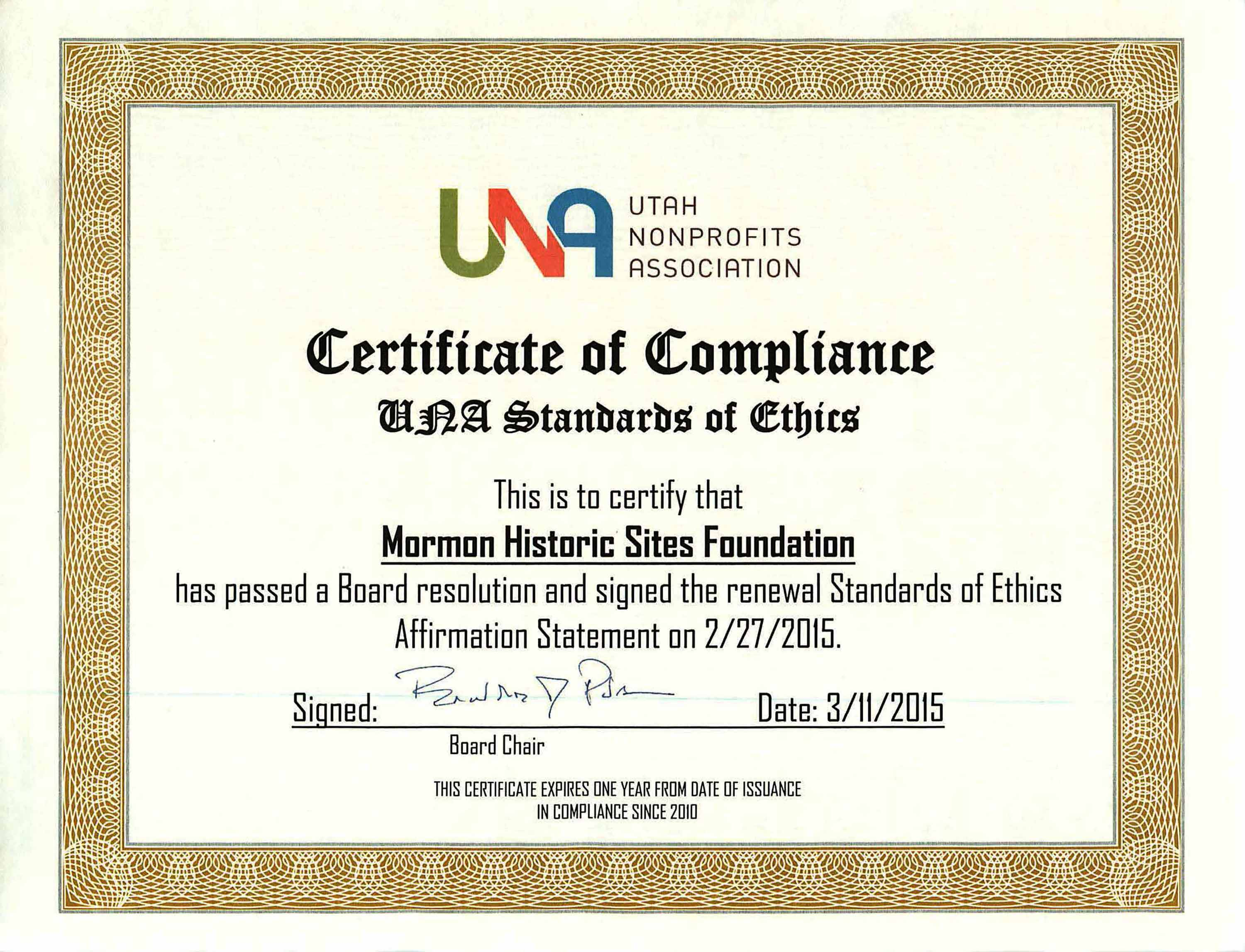 Certificate Of Compliance Certificate Of