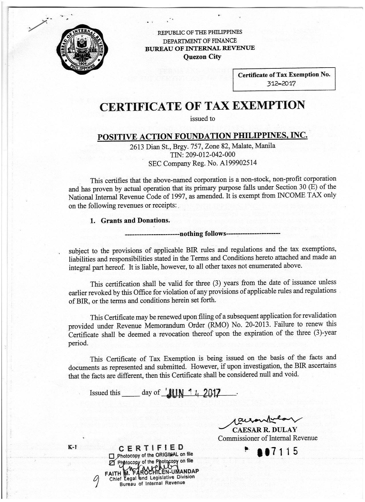 Certificate of exemption Sample