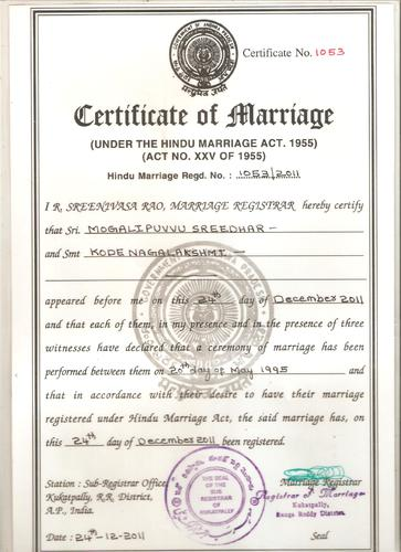 Certificate of Marriage Online
