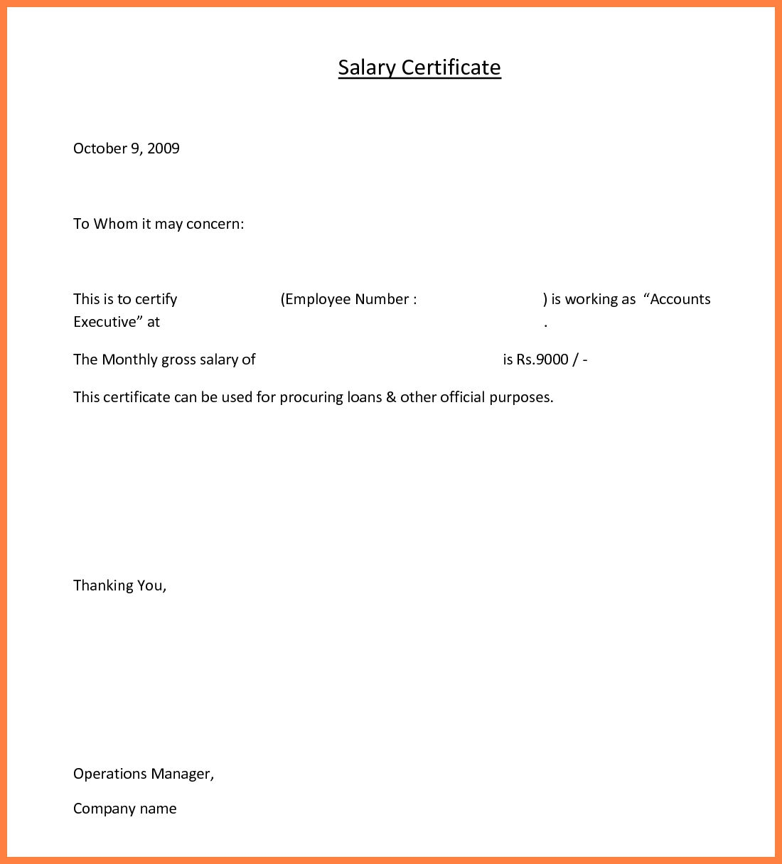 Certificate of Employment Sample with Salary
