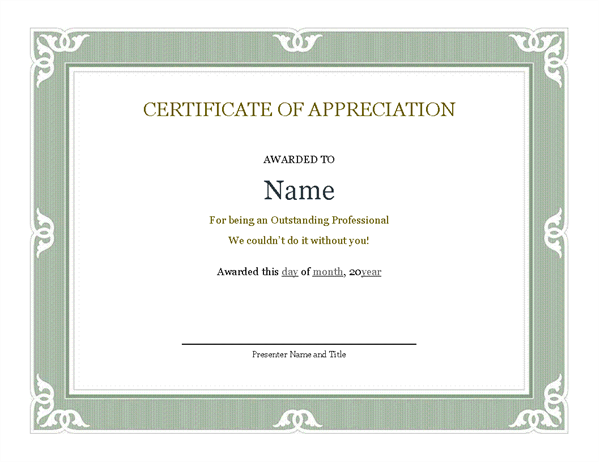 Certificate of Appreciation for Parents