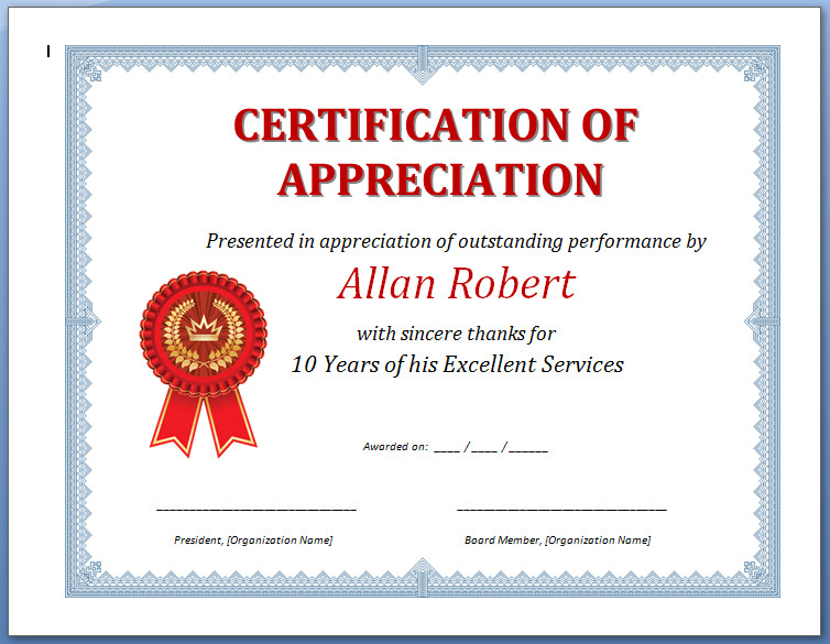 Free Printable Certificate of Appreciation Sample