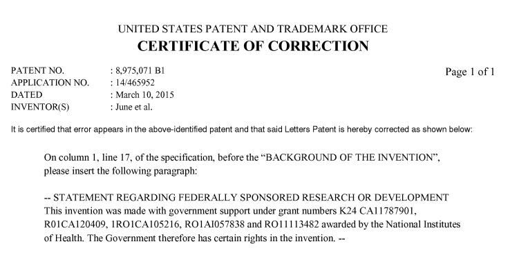 Certificate of Correction Patent
