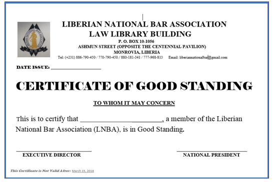 Certificate of Good Standing Sample
