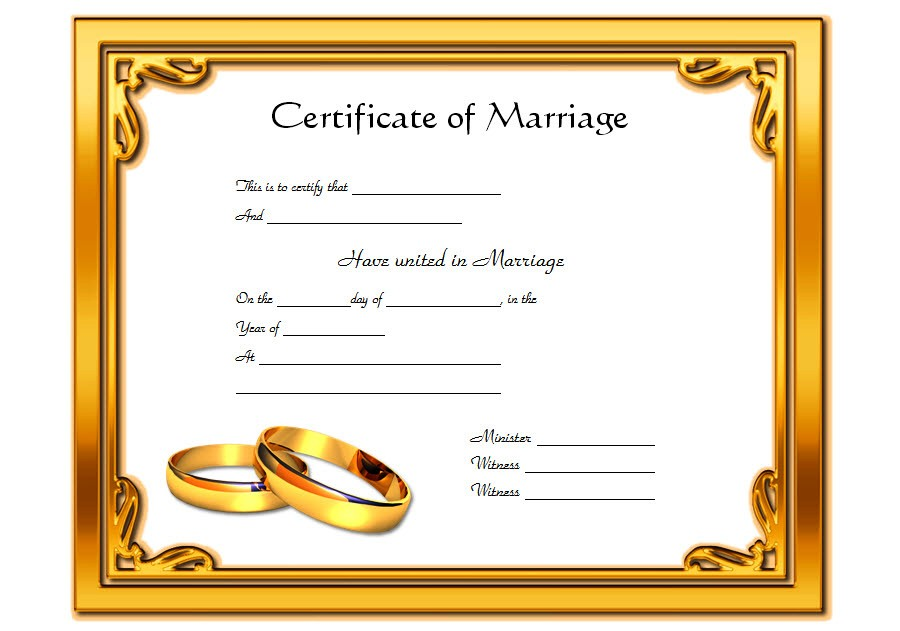Certificate of Marriage Format