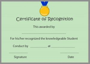 Certificate of Recognition For Students