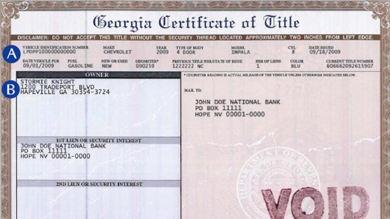 Certificate of Title for Car