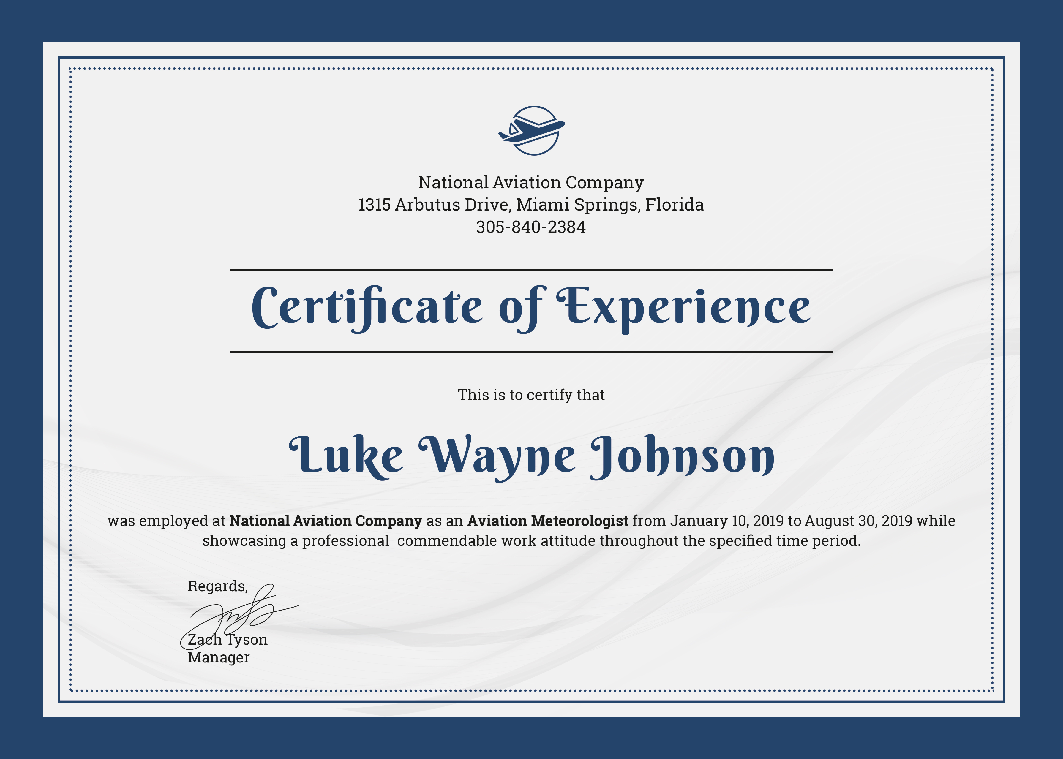 Certificate of Experience Sample