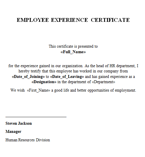 What is Certificate of Experience