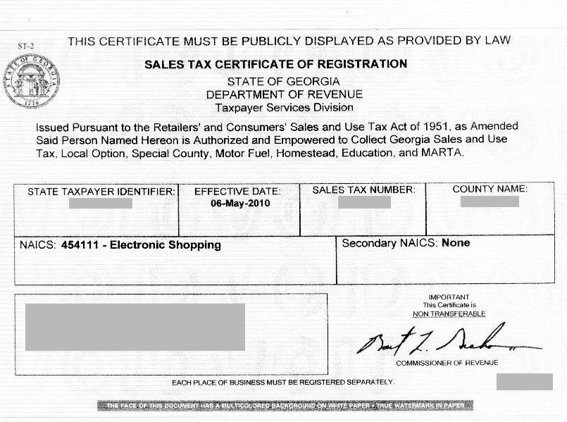 Resale Tax Certificate