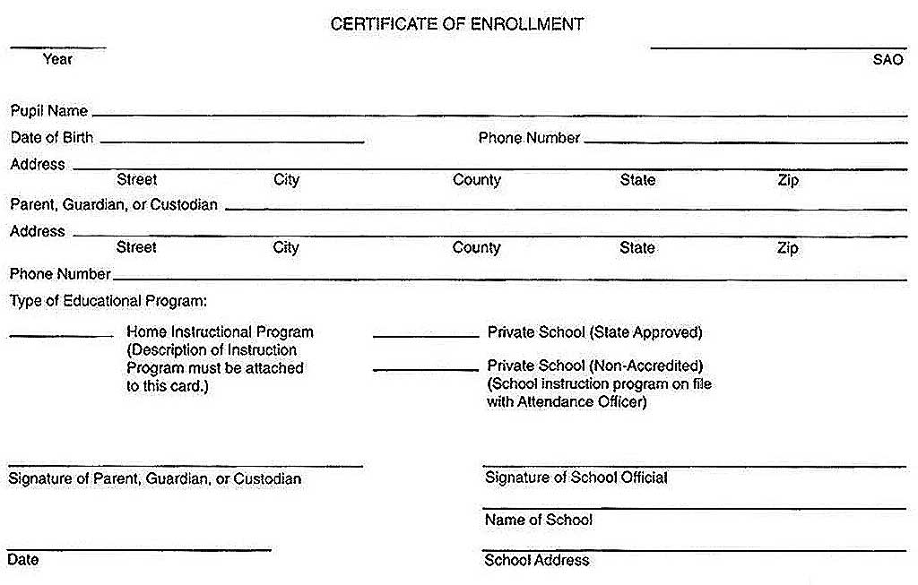 What is Certificate of Enrollment