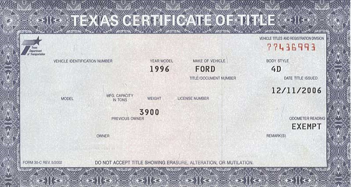 Texas Certificate of Title
