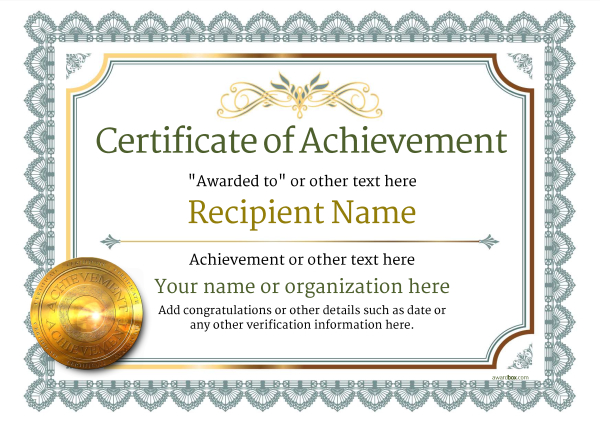 Certificate Of Achievement Certificate Of