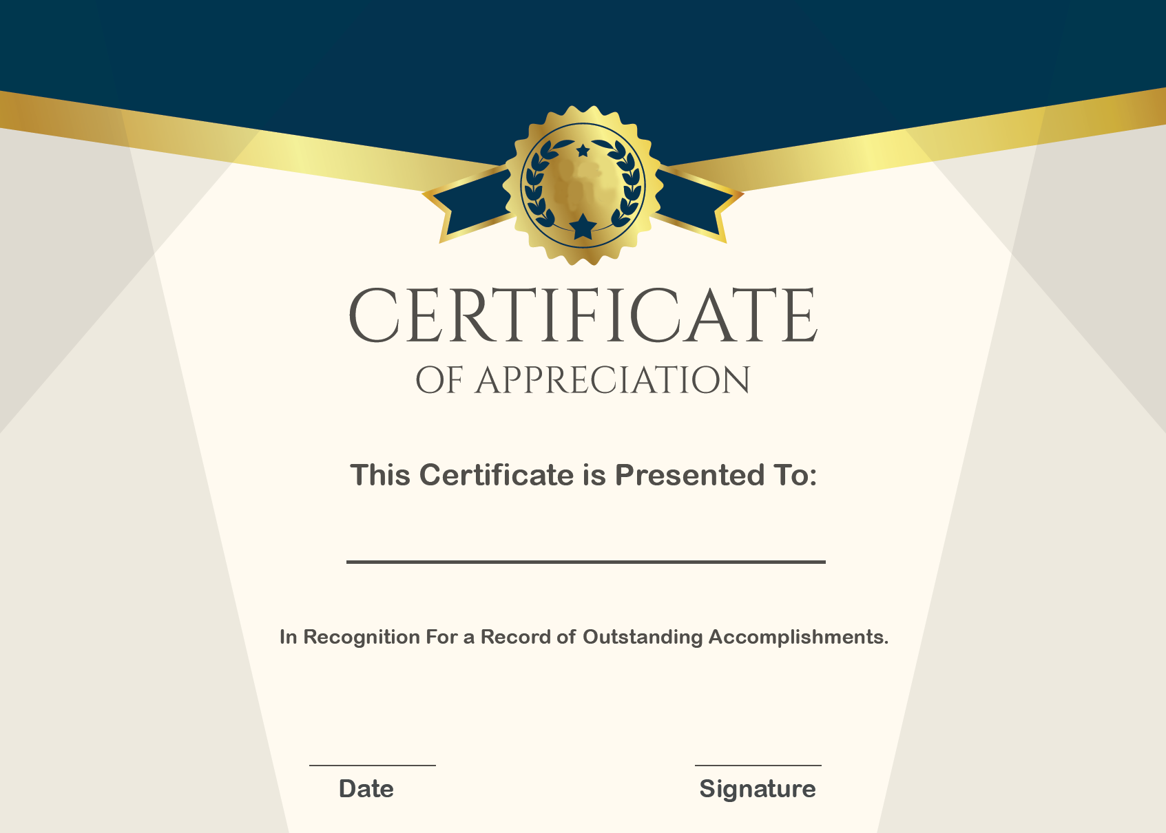 Certificate of Appreciation Wording Example