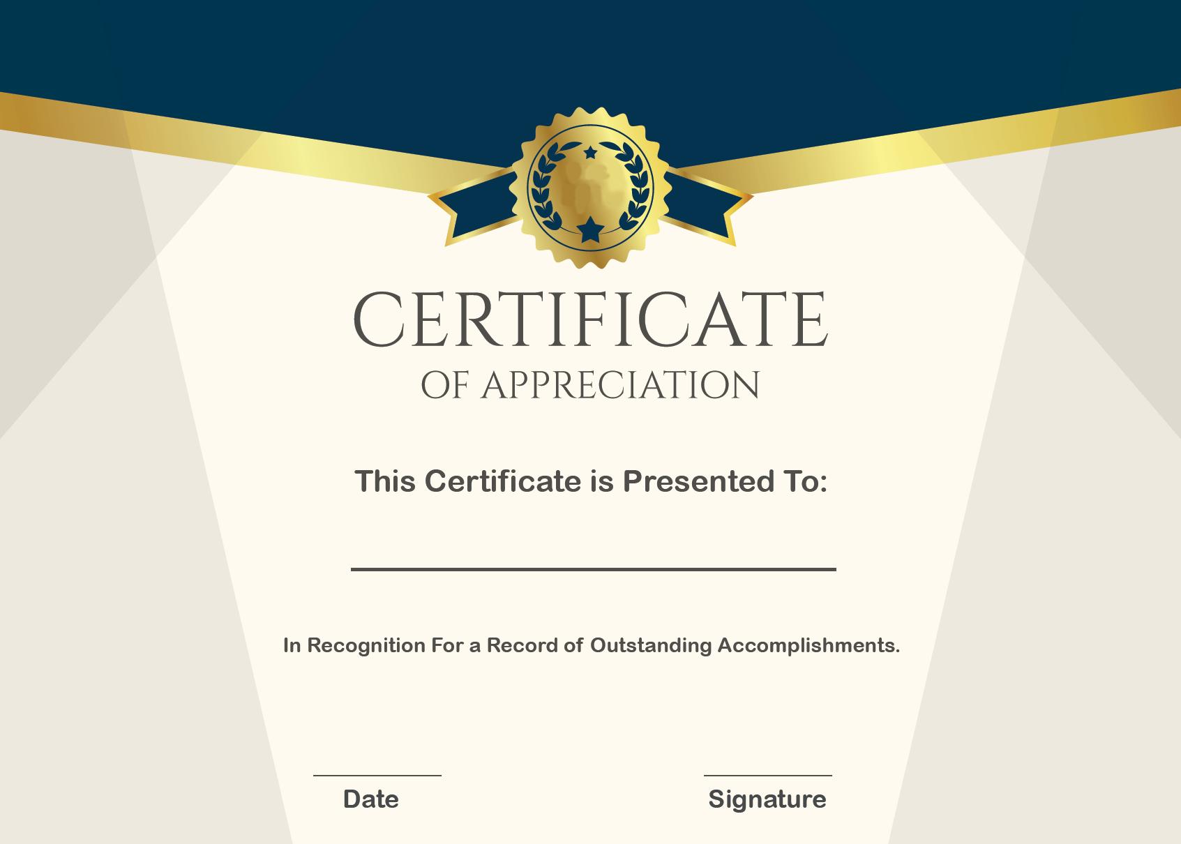 Certificate of Appreciation Wording Example